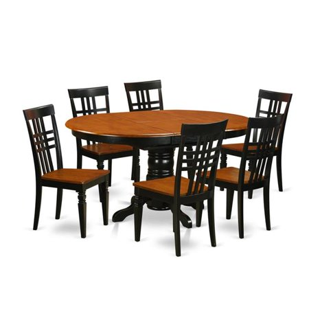 East West Furniture AVLG7-BCH-W Dinette Table with Leaf & 6 Faux Leather Seat Chairs, 5 piece - Black & Cherry