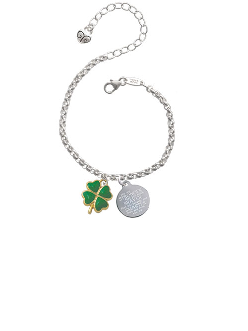 Goldtone Opaque Green Lucky Four Leaf Clover Stronger Braver Smarter Engraved Bracelet by Delight and Co.