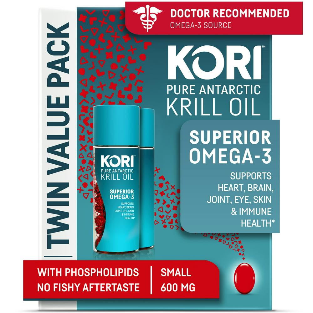 Kori Krill Oil Superior Omega-3 600mg 120ct, Small Softgels