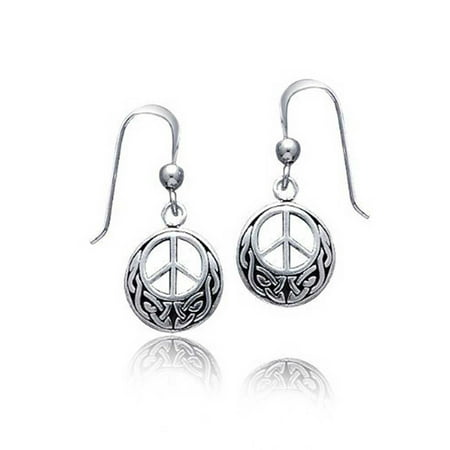 Peace Sign Symbol Celtic Knotwork Celtic Irish Love Knot Work Drop Earrings For Women Teen Oxidized 925 Sterling Silver