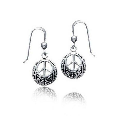 Peace Sign Symbol Celtic Knotwork Celtic Irish Love Knot Work Drop Earrings For Women Teen Oxidized 925 Sterling Silver Celtic Knot Drop Earrings
