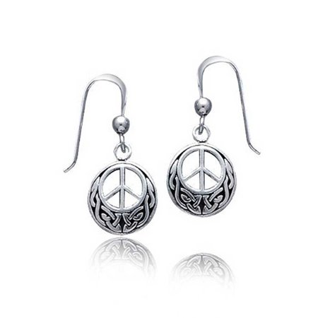 Peace Sign Symbol Celtic Knotwork Celtic Irish Love Knot Work Drop Earrings For Women Teen Oxidized 925 Sterling Silver Celtic Knotwork Silver Earrings
