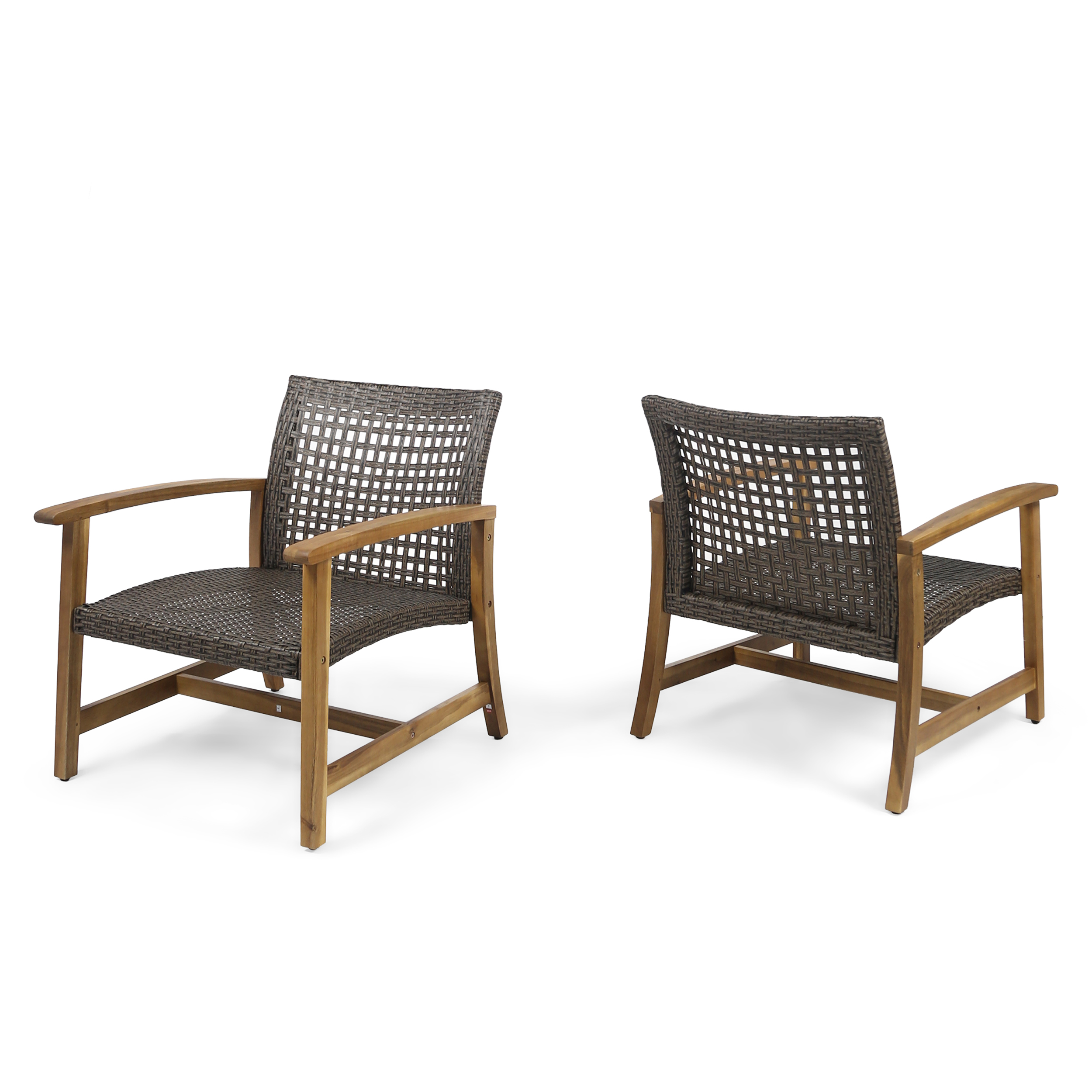 Viola Outdoor Wood and Wicker Club Chairs, Set of 2, Teak Finish and Mixed Mocha