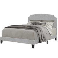 Natural Greige Upholstered Full Panel Bed in Gray