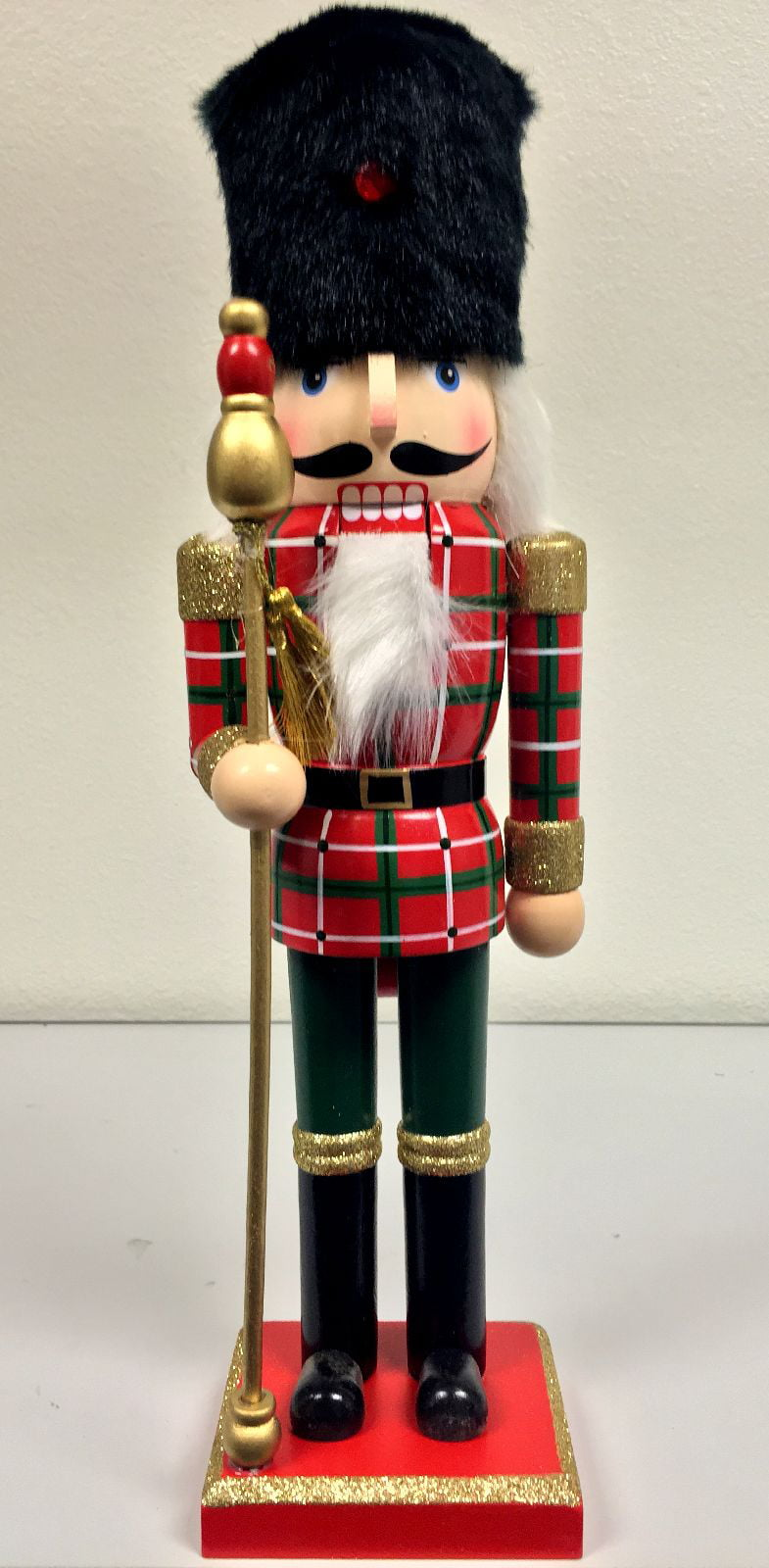 Black Fur Hat Soldier Guard Wooden Christmas Nutcracker 14 Inch ...