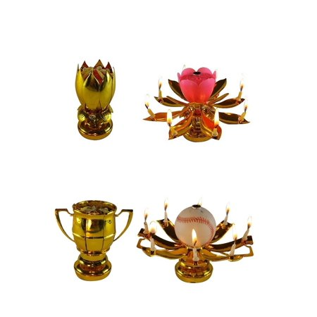 Exciting Candle Rotating Magic Sparkler Lotus Flower Birthday Candle, 2 Pack, 1 Gold Lotus and 1 Baseball Trophy Birthday Candle