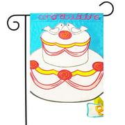 """Congratulations Cake Applique Wedding Garden Flag Doves Rings 12"""" x 18"""""""