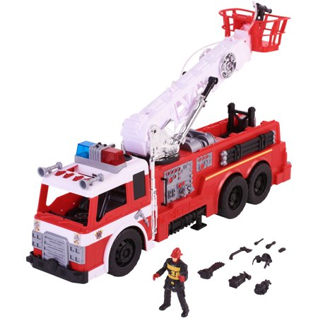 Watch Fire Truck (Kid Connection 10-Piece Light & Sound Light & Sound Fire Truck Play Set with Working Water Pump )