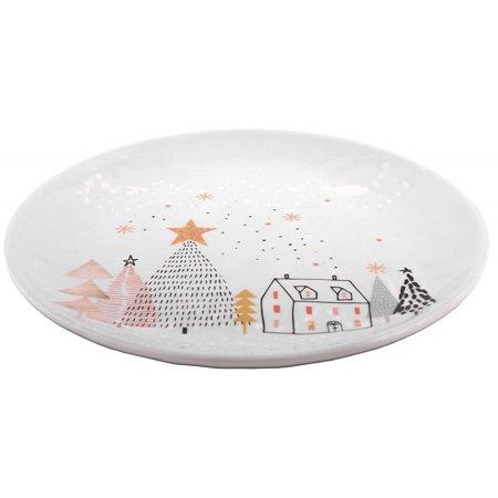 Melange 608410091610 6 -Piece 100% Melamine Salad Plates Christmas Collection-Golden Fox Shatter-Proof and Chip-Resistant|, 10.5