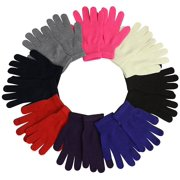 Womens Winter Gloves 12 Pairs Girls Soft Stretchy Gloves Knitted Mittens