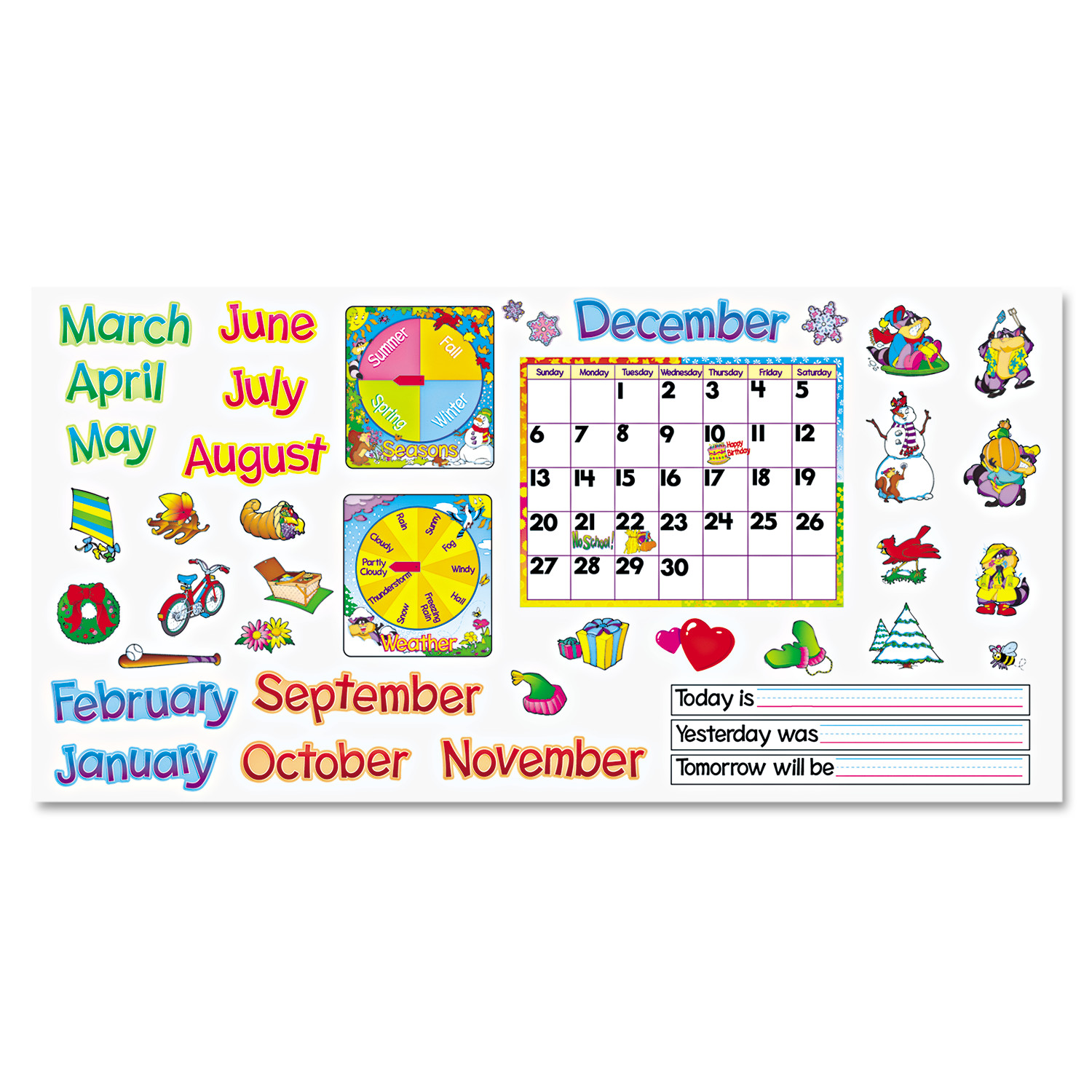 "TREND Monthly Calendar (with Cling) Bulletin Board Set, 22"" x 17"""