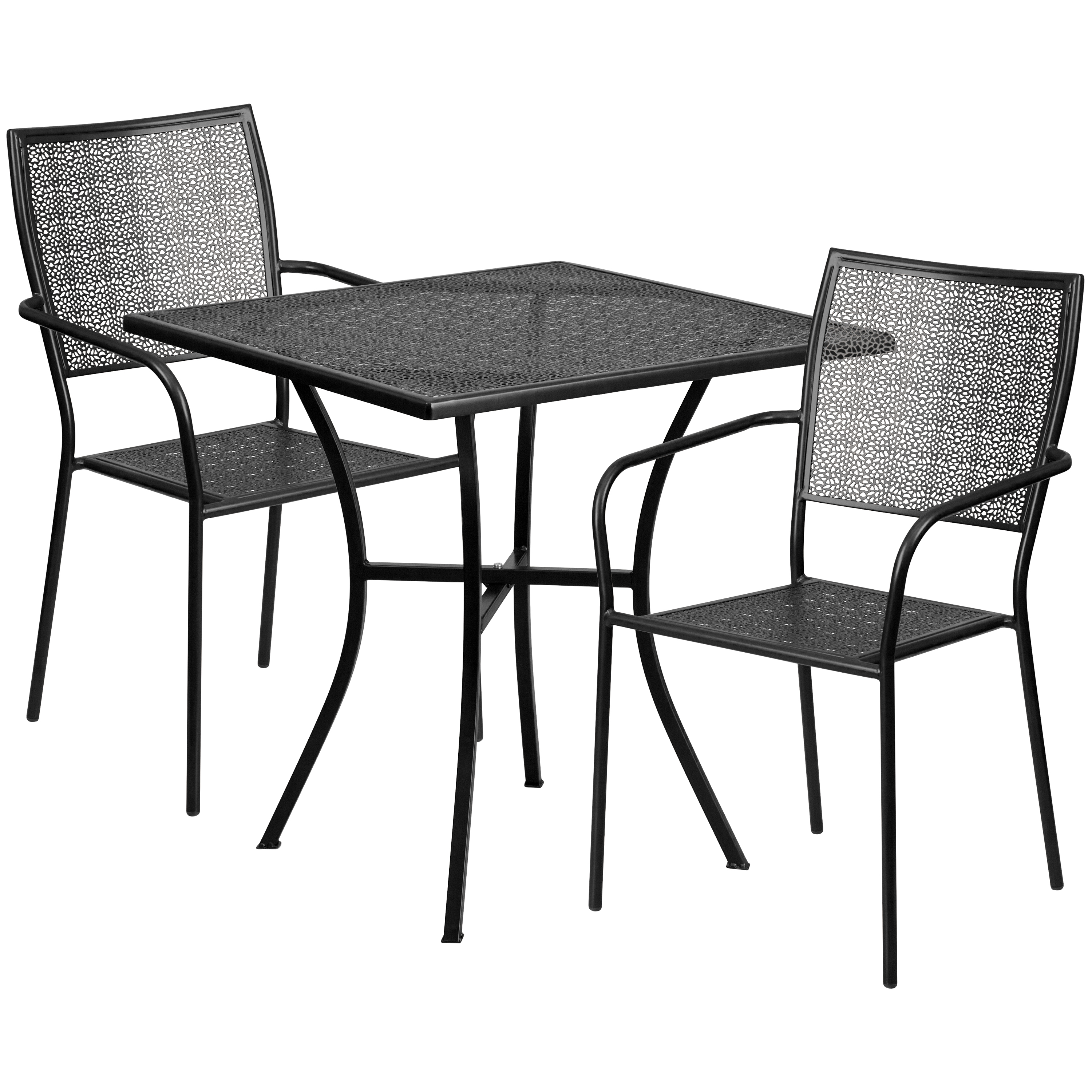 Flash Furniture 28'' Square Indoor-Outdoor Steel Patio Table Set with 2 Square Back Chairs, Multiple Colors