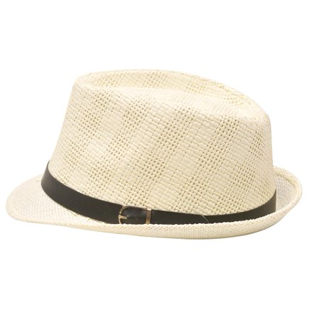 Ivory Buckle (Sophias Style Unisex Junior Adult Ivory Buckle Grosgrain Ribbon Fedora Hat )