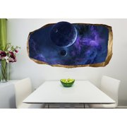 Startonight 3D Mural Wall Art Photo Decor Blue World Amazing Dual View Surprise Wall Mural Wallpaper for Bedroom Space Wall Paper Art Gift Large 47.24 '' By 86.61 ''