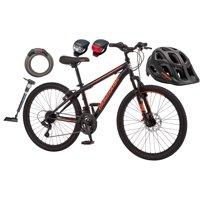 Mongoose Excursion Mountain Bike, Pump, Light, Lock, and Helmet Value Bundle