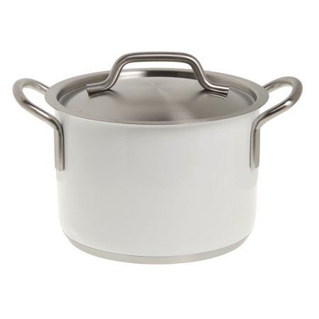 Stainless Steel Sauce Pot, White, 4 2/5 Liter Capacity - 5 1/2 Dia x 7 22/25 H