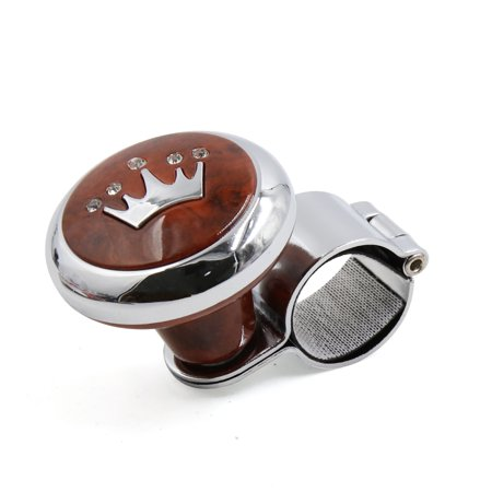 Useful Plastic Metal Power Handle Steering Wheel Knob w Brown Crown Pattern Design