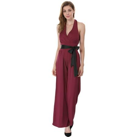 Cocktail Jumpsuit (Women's Sleeveless Halter Neck Wide Leg Loose Fit Cocktail Jumpsuit Red (Size M /)