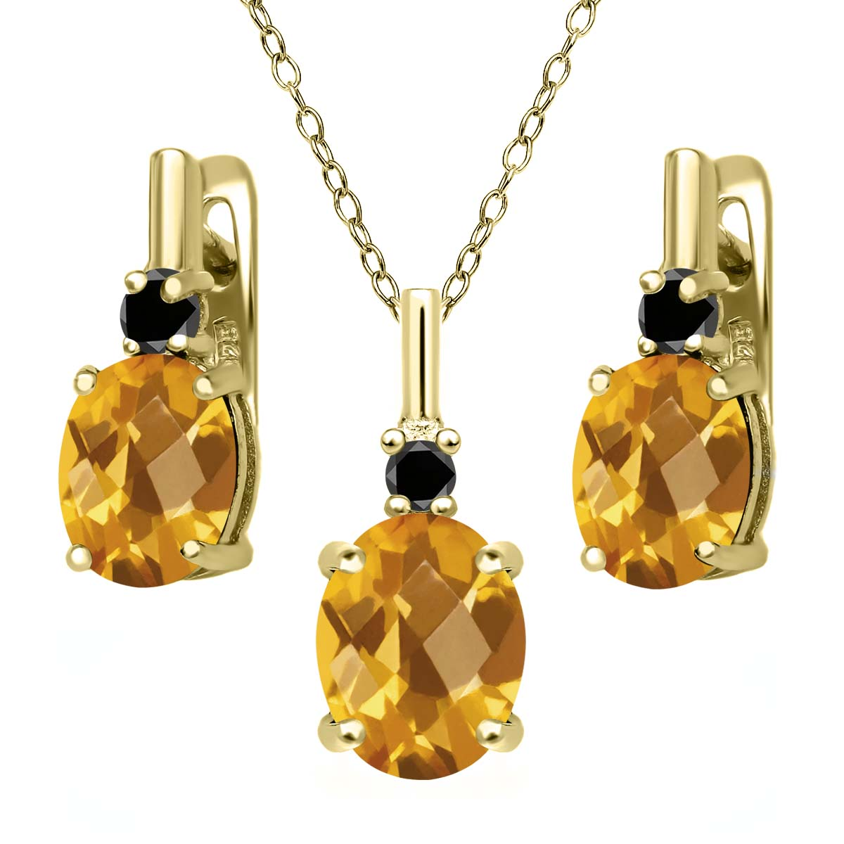 4.87 Ct Oval Checkerboard Yellow Citrine Black Diamond 18K Yellow Gold Plated Silver Pendant Earrings Set by