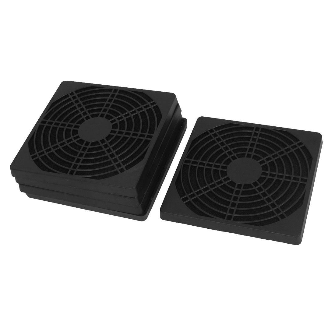 Unique Bargains 125mm Computer PC Dustproof Cooler Fan Case Cover Mesh Dust Filter Black 5pcs