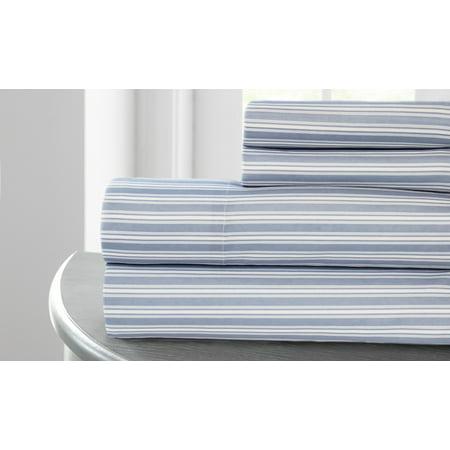 Image of Cavendish Royal Paisley collection Printed 4 pc sheet set Racer stripe Blue King