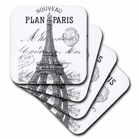 3dRose Nouveau Paris vintage Eiffel tower, Soft Coasters, set of