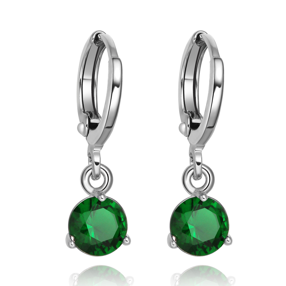 Small and Cute Round Royal Green Sparkling Crystals Silver-Tone Eardrop Fashion Earrings