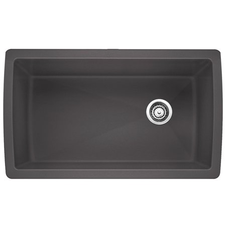 Silgranit Granite Bar Sink - Blanco DIAMOND Super Single Bowl SILGRANIT Sink Cinder