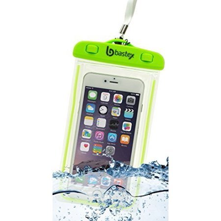 Universal Bastex Dry Bag Phone Case, Waterproof Glow In The Dark Pouch Clear Transparent Sealed Heavy Duty Silicone Protection for Samsung,iPhone,HTC,LG,camera,multi-media devices-Neon Green