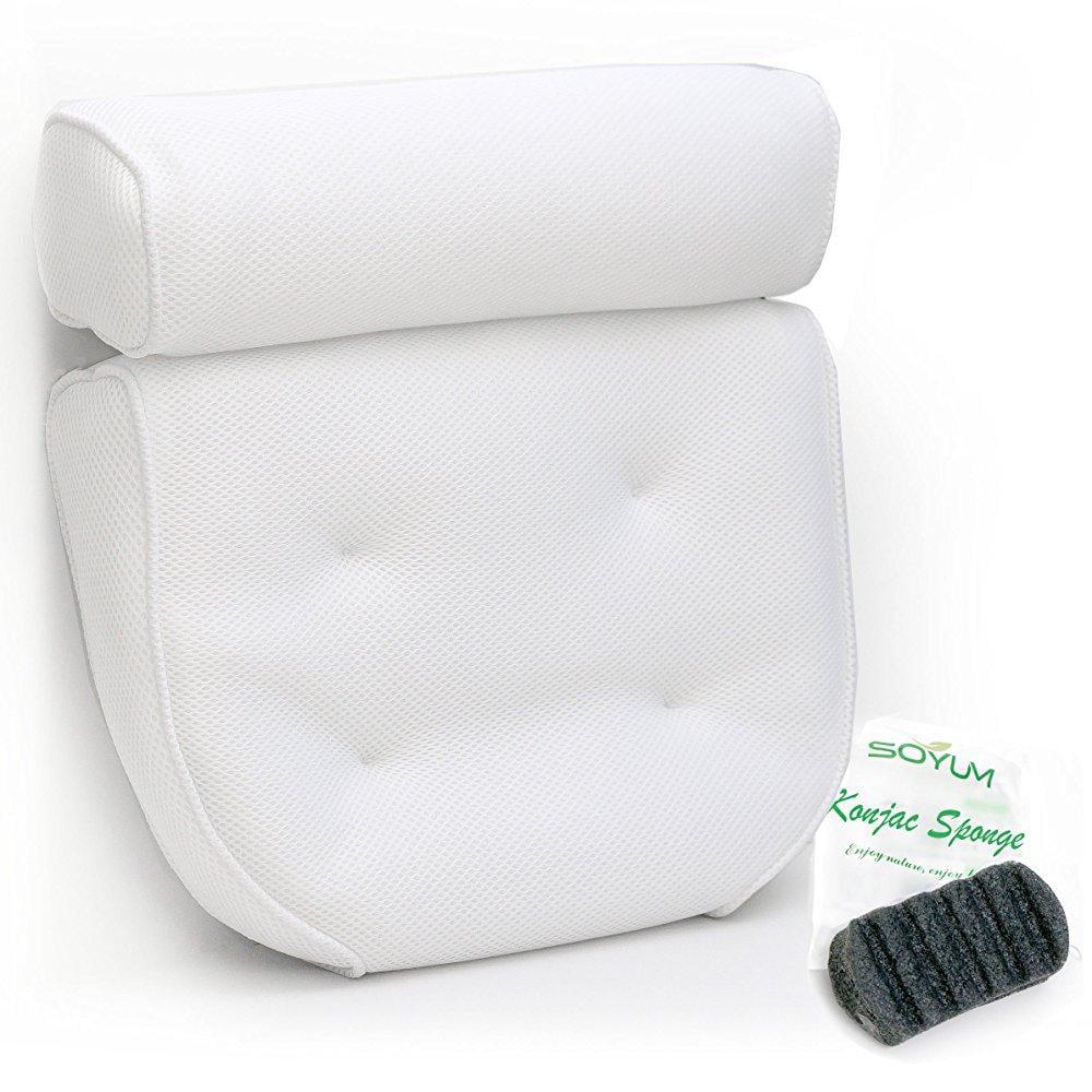 IndulgeMe Luxurious Bath Pillow PLUS Konjac Bath Sponge, Extra Large ...