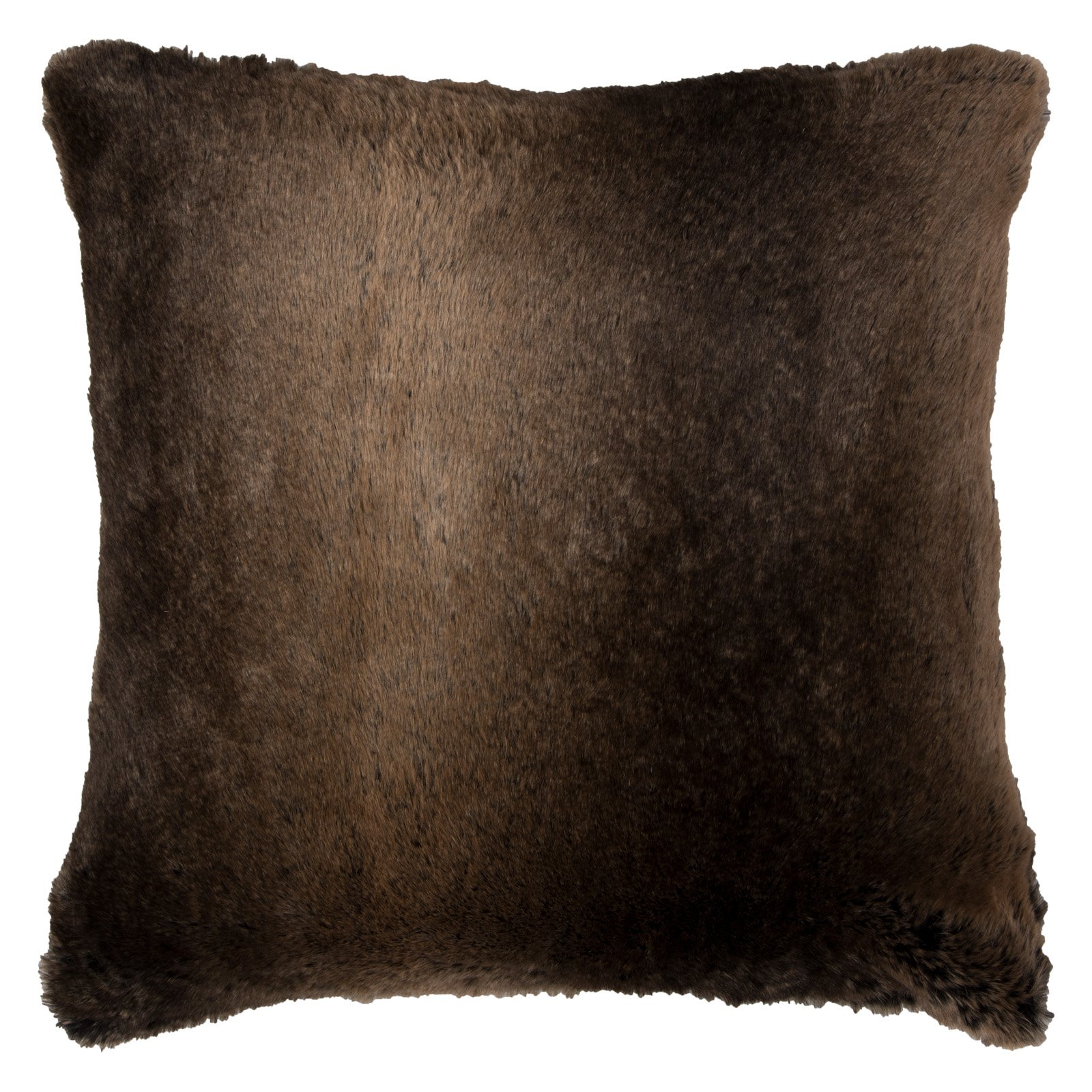 "Rizzy Home Decorative Poly Filled Throw Pillow Solidfur 20""X20"" Brown"