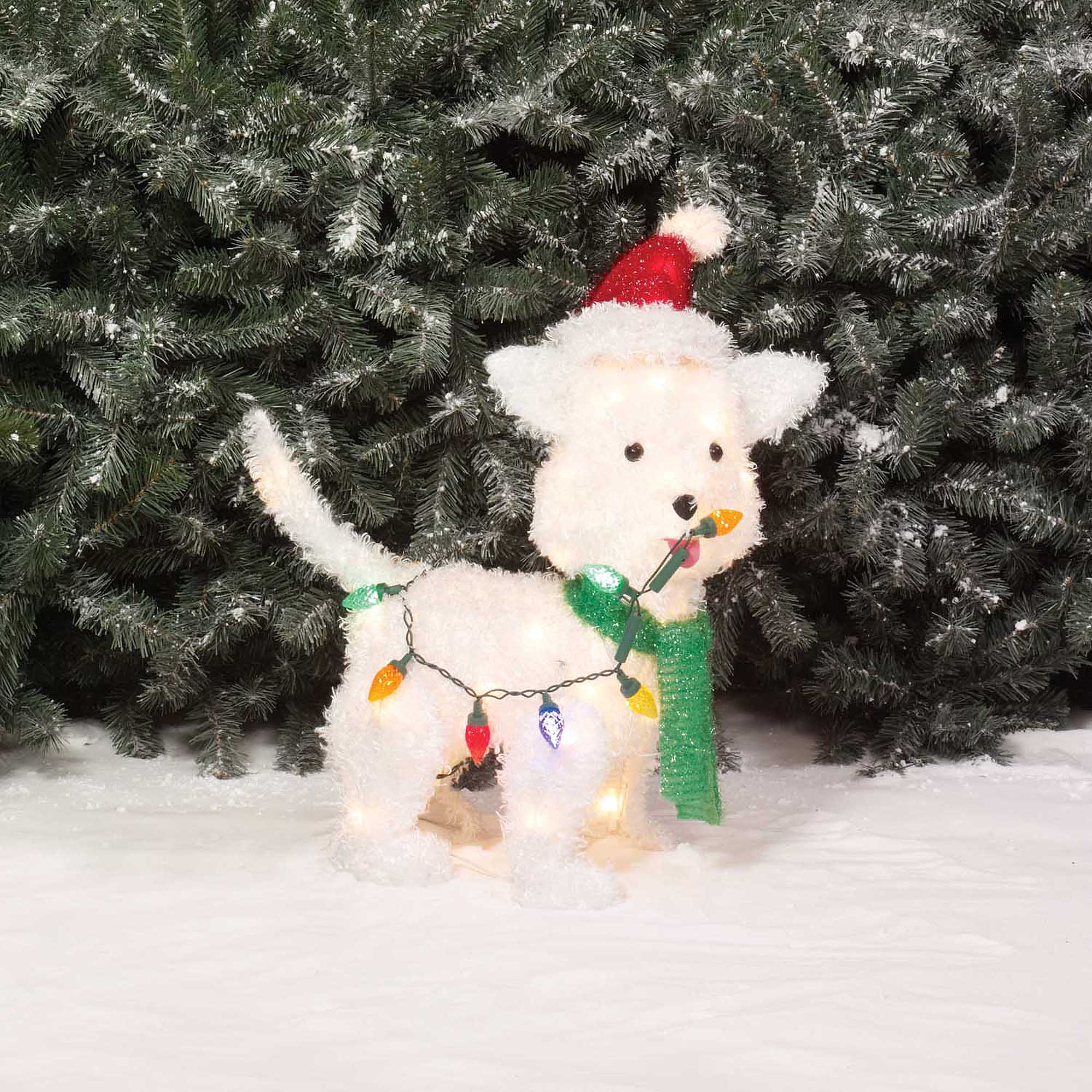 holiday time christmas decor 24 fluffy dog light sculpture walmartcom - Light Up Christmas Decorations