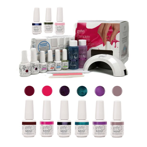 Gelish Soak-Off Mini Harmony Complete Starter Gel Nail Polish Kit with Intergalactic Glam & LED Curing Lamp