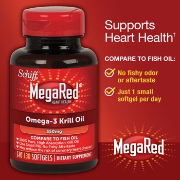 MegaRed Omega-3 Krill Oil Softgels, 350 Mg, 130 Ct