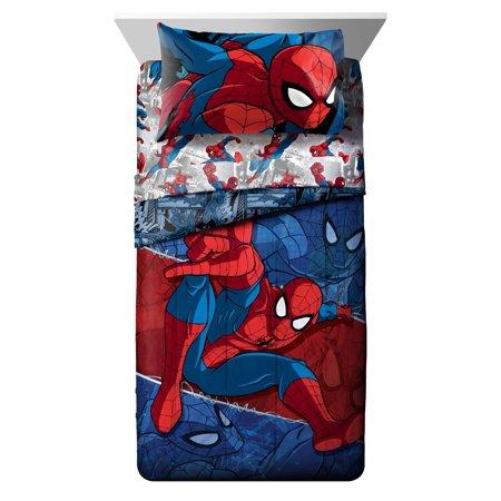 Marvel Spiderman Burst Microfiber Twin Sheet Set (Toddler Bed Sheets Spiderman)