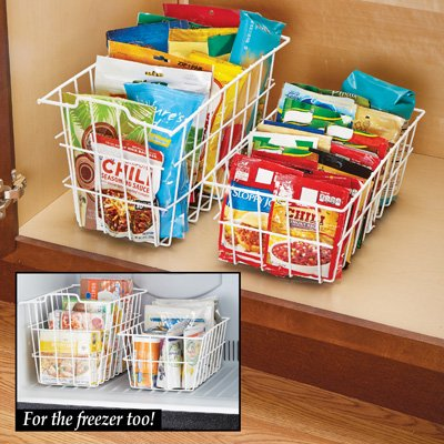 Vinyl Coated Metal Storage Baskets For Closets Cabinets Desks Freezer Set