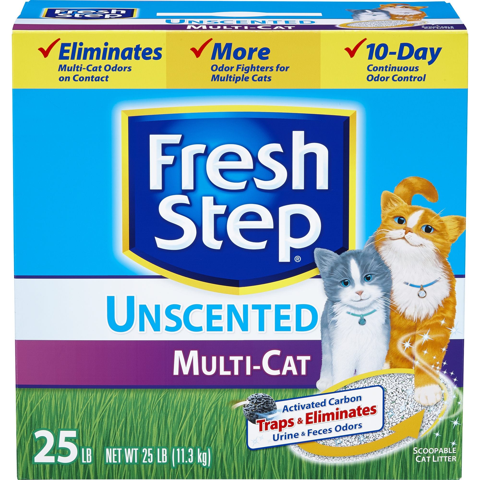 Fresh Step Multi-Cat, Clumping Cat Litter, Unscented, 25 Pounds