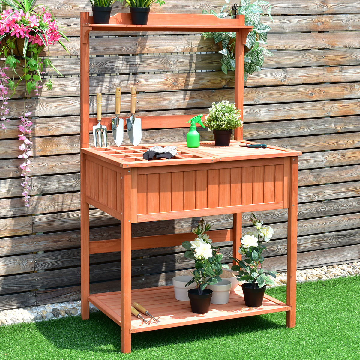 Costway Potting Work Station Table Bench Wood Garden Pati...