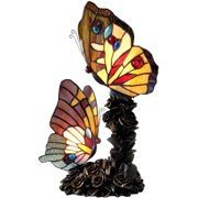 """Chloe Lighting Edith 1 Tiffany-Style 2-Light Butterfly Table Lamp, 10"""" Wide"""
