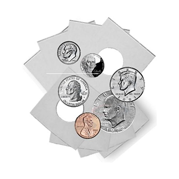 Dime Size 2x2 Mylar Cardboard Coin Flips for Storage10 Cent Paper Holder 25