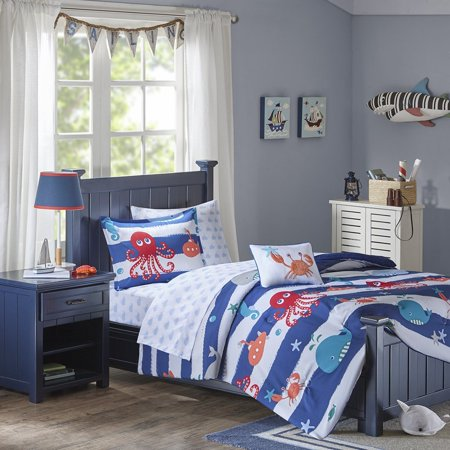 Sealife Complete Bed and Sheet Set Blue Full, Dive to the depths of dreamland with the Mi Zone Kids Sealife Complete Bed and Sheet Set. Featuring a.., By Mizone Kids