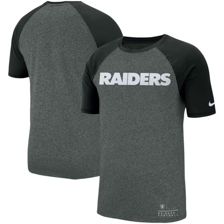 57d112fa0 Oakland Raiders Nike Fan Gear Marled Raglan Performance T-Shirt - Heathered  Black - Walmart.com