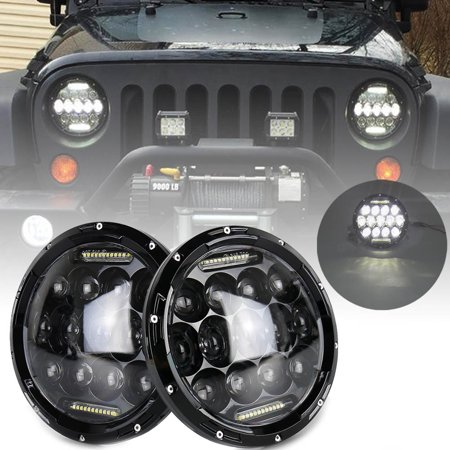 GZYF Round 75W CREE LED Headlights DRL Running Lights For 97-17 Jeep Wrangler JK YJ TJ CJ Wrangler