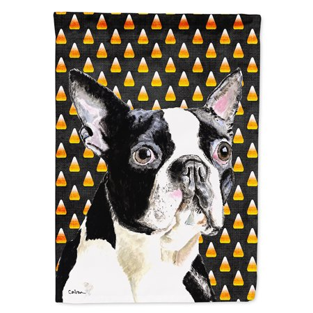 Boston Terrier Candy Corn Halloween Portrait Garden Flag - Boston Concert Halloween