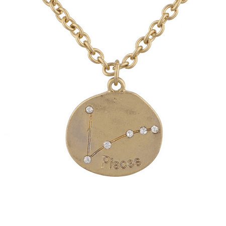 Lux Accessories Gold Tone Crystal Pisces Zodiac Constellation Horoscope Necklace