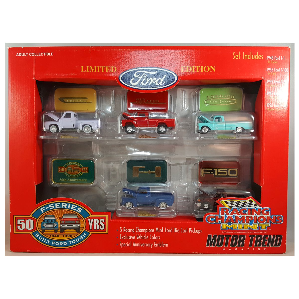 1998 Racing Champions Mint Motor Trend Magazine 50 Years Ford F-Series 1948-1998 Set of 5 Die Cast Pickup... by Racing Champions, Inc.