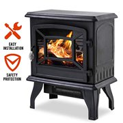 "Electric Fireplace Heater Stove Portable Space Heater Freestanding Fireplace for Home Office with Realistic Log Flame Effect 1500W CSA Approved Safety 20""Wx17""Hx10""D,Black"