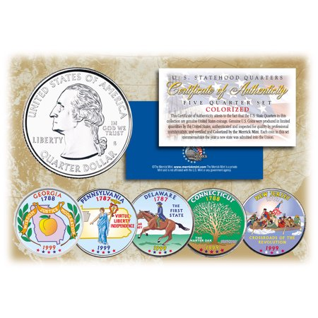 Tendre Set (1999 US Statehood Quarters COLORIZED Legal Tender 5-Coin Complete Set)