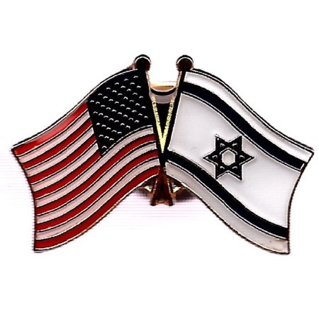 PACK of 3 Israel & US Crossed Double Flag Lapel Pins, Israeli & American Friendship Pin (American Flag Lapel Pin With Black Dot)