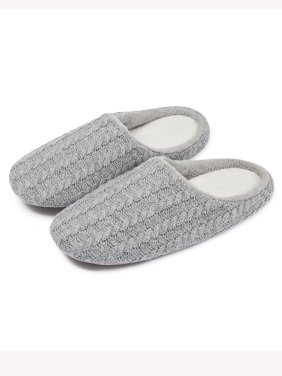 FLORATA Men's and Women's Memory Foam House Slippers Soft Sole Cotton Striped Slippers Indoor Slip On Shoe Comfortable